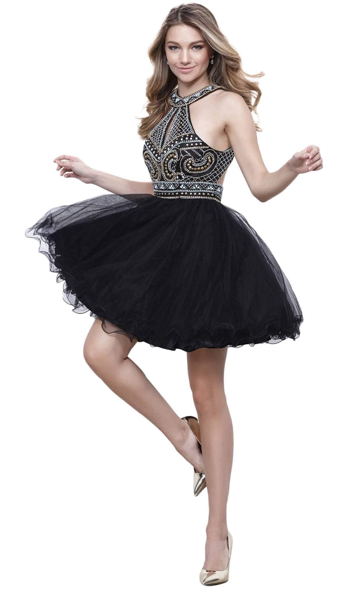 Nox Anabel - 6260 High Halter Keyhole Embellished Dress