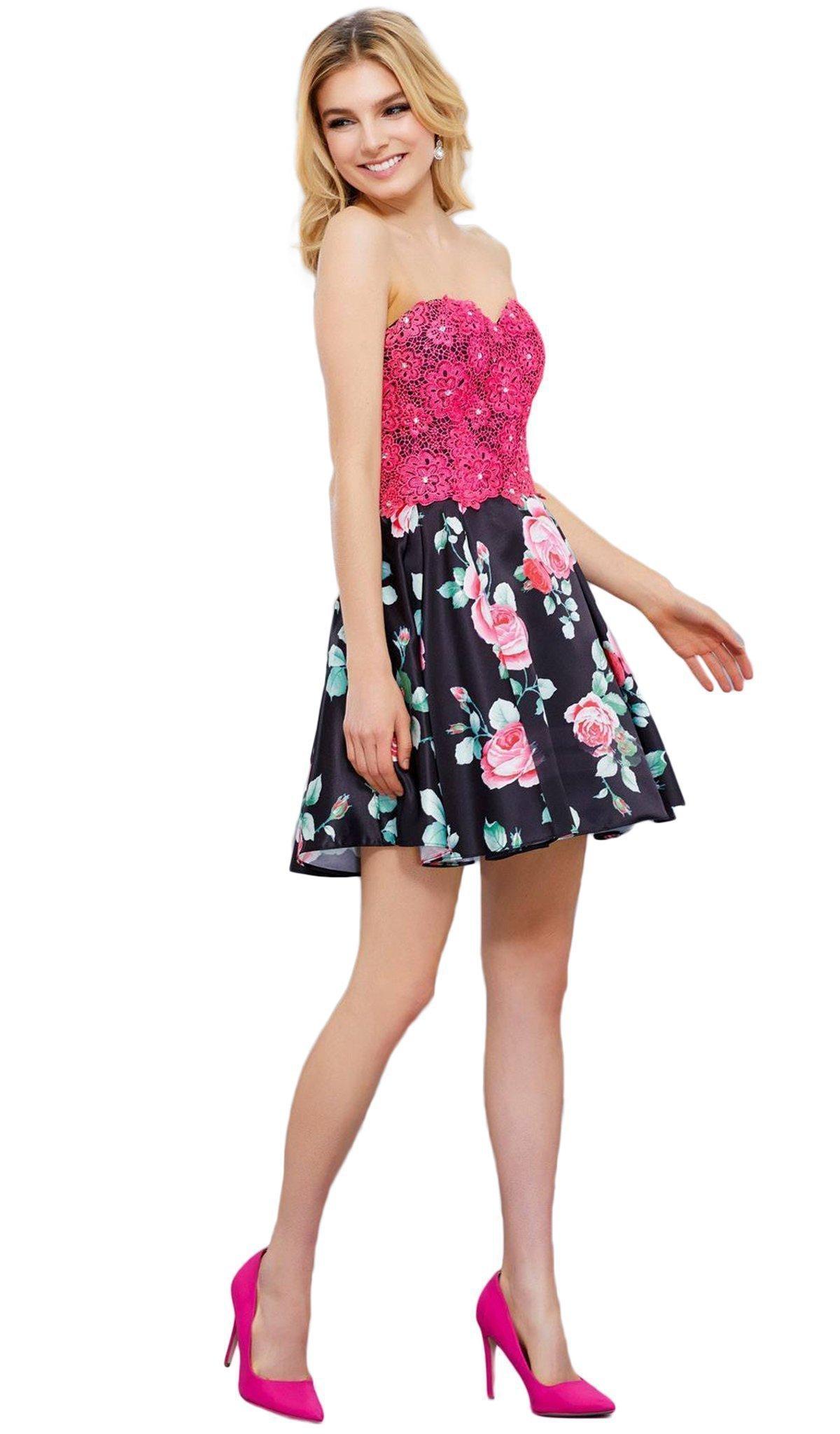 Nox Anabel - 6270 Two-Piece Lace Corset Floral Cocktail Dress
