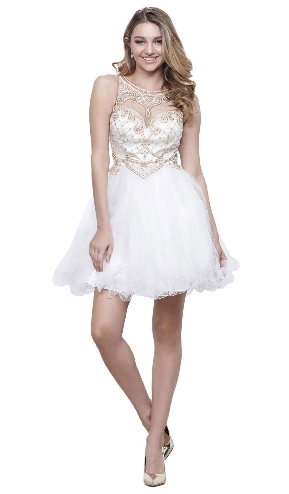 Nox Anabel - 6271 Bead-Embellished Illusion Cocktail Dress