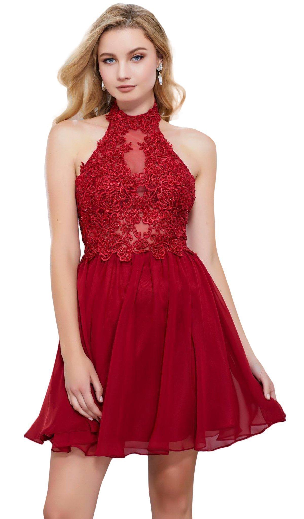 Nox Anabel - 6308 Ornate Lace Appliqued Illusion Halter Dress