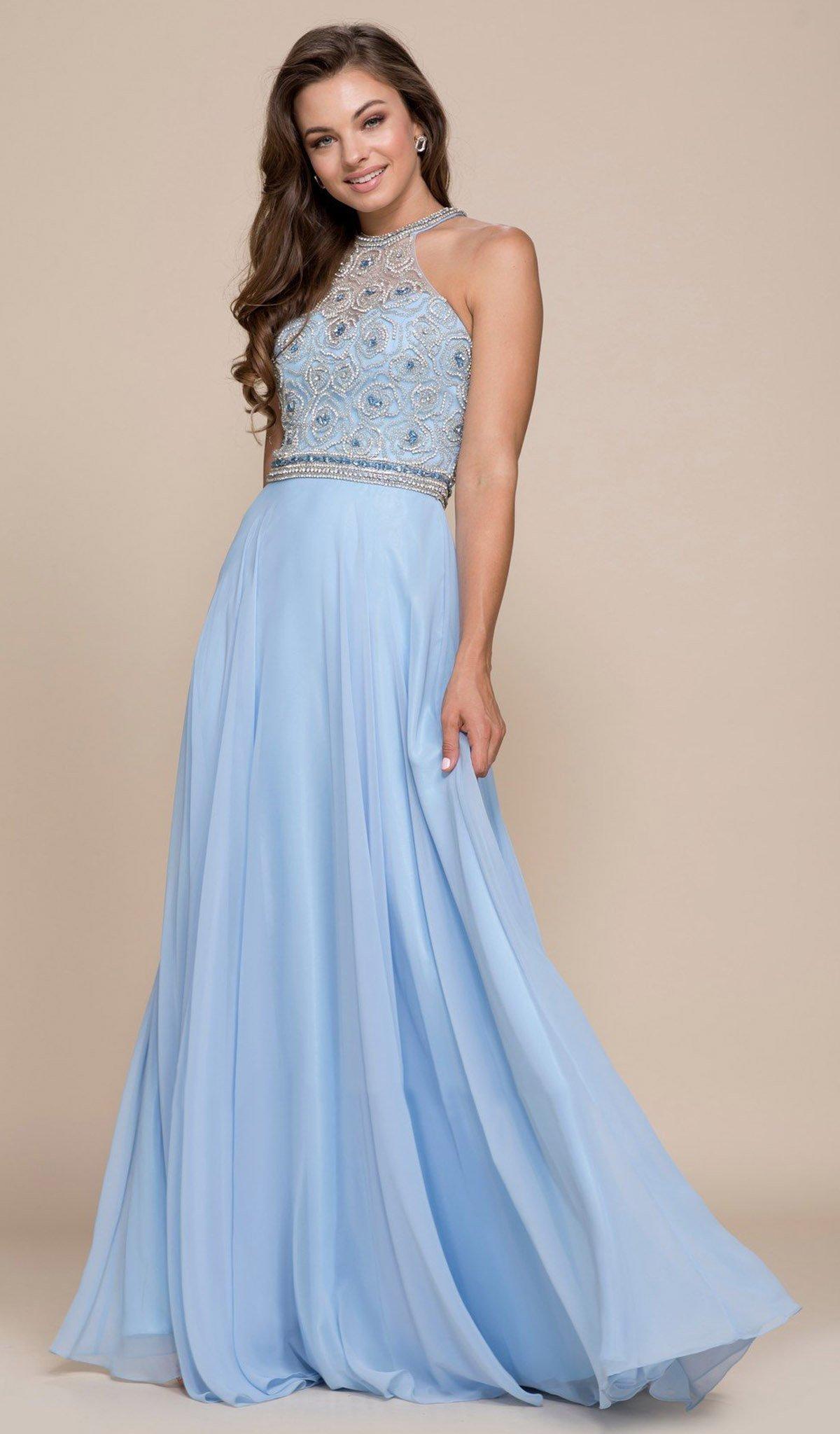 Nox Anabel - 8295 Beaded Illusion Halter A-line Dress