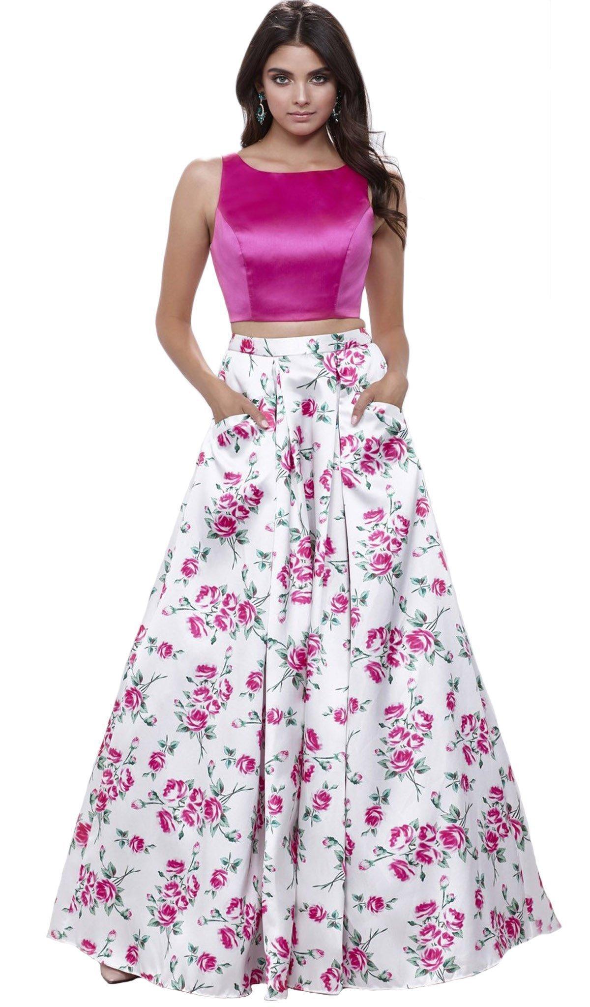 Nox Anabel - 8331 Bateau Neck Two-Piece Floral A-line Evening Gown