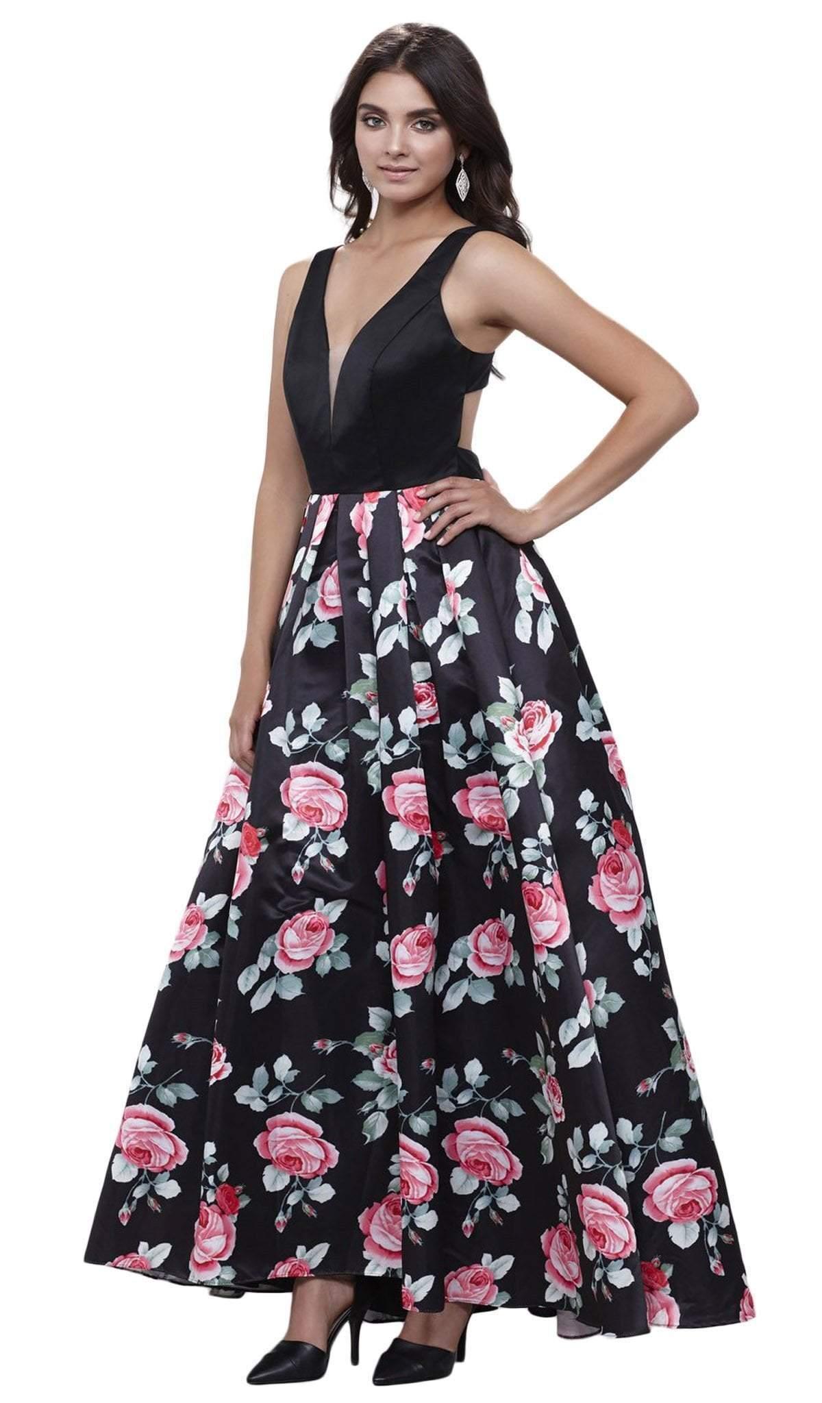 Nox Anabel - 8351 Sleeveless Deep V-Neck Floral Evening Dress