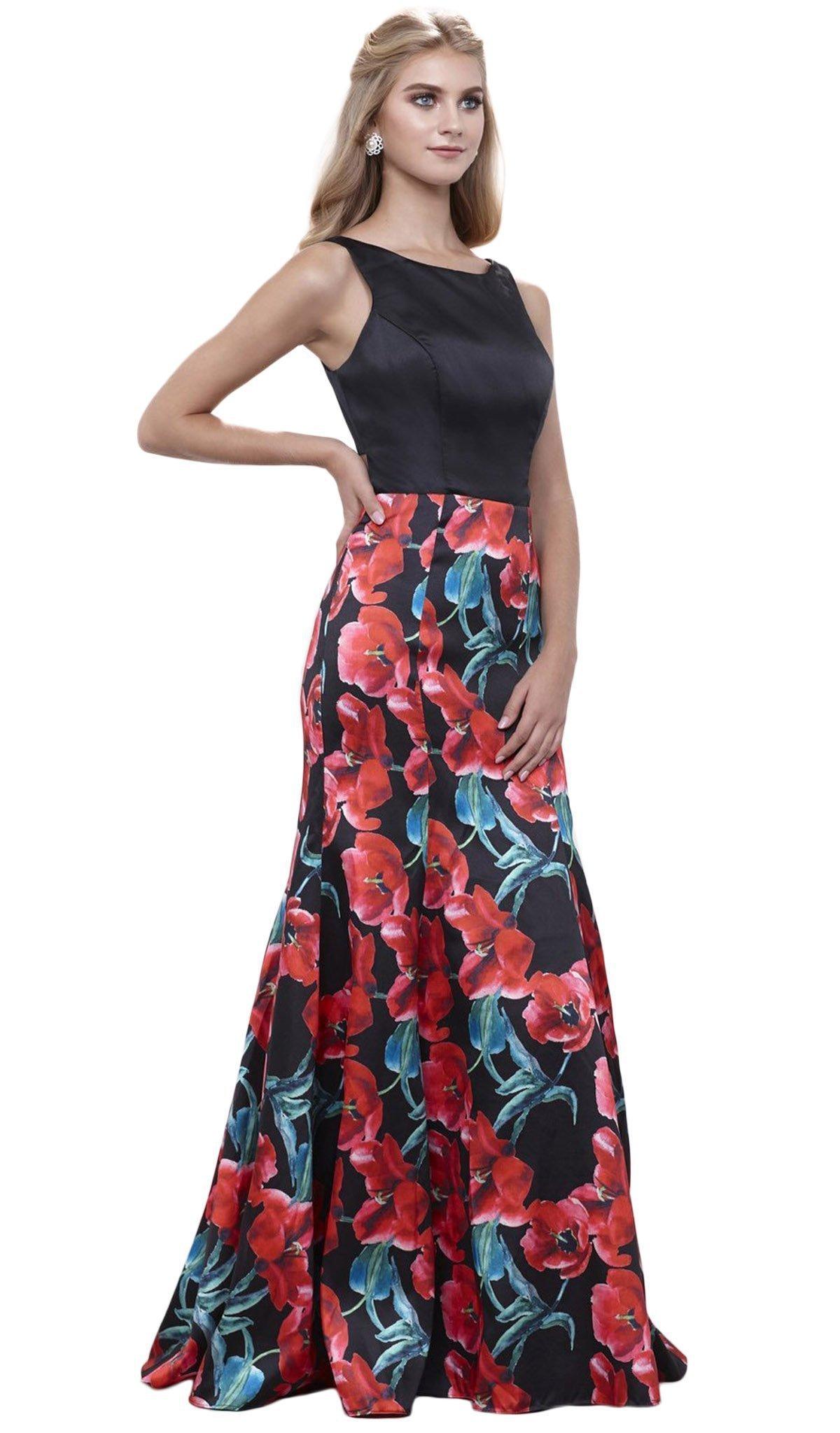 Nox Anabel - 8354 Sleeveless Floral Print Trumpet Evening Dress
