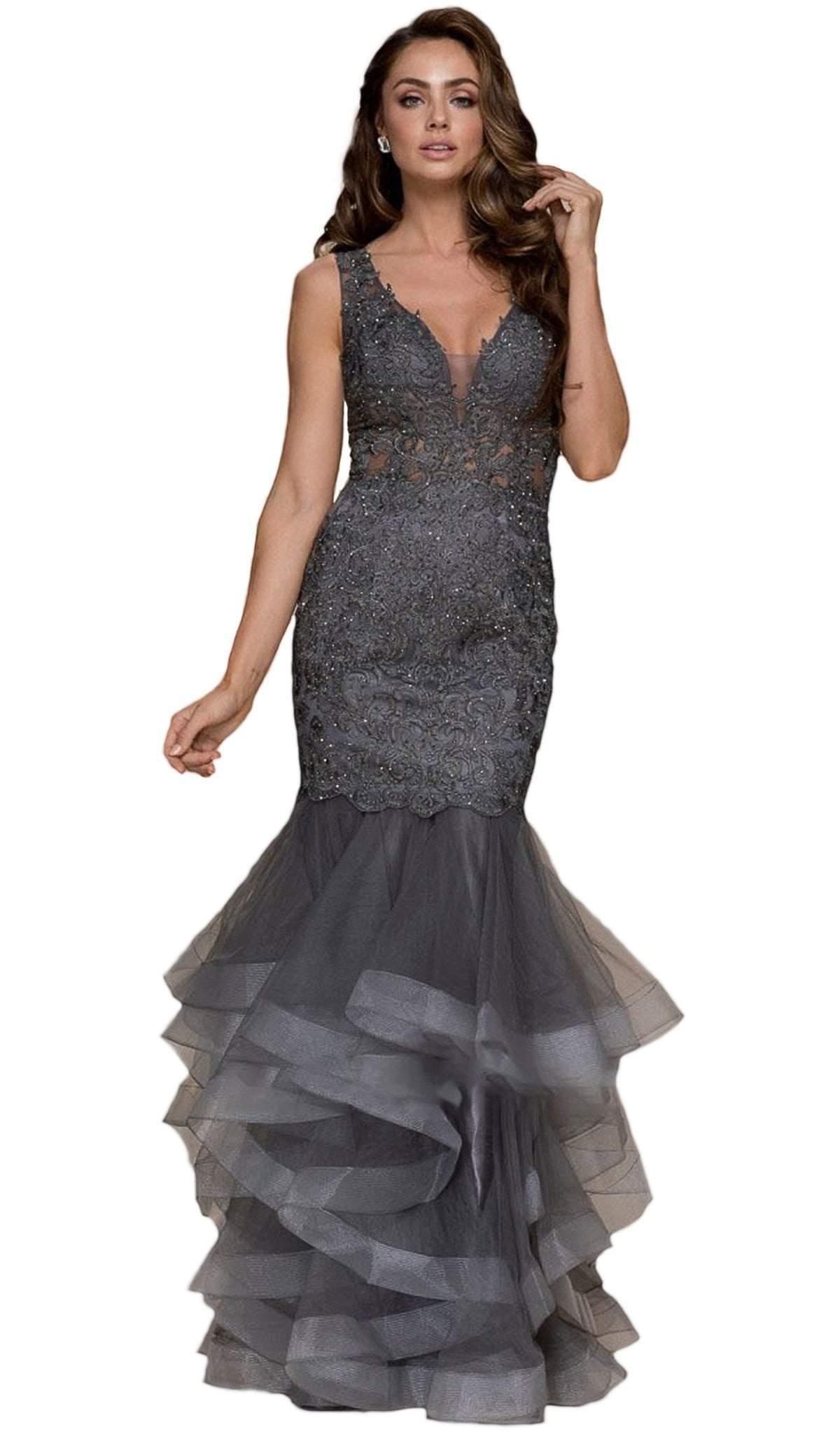 Nox Anabel - A059 Beaded Lace Ruffled Mermaid Dress