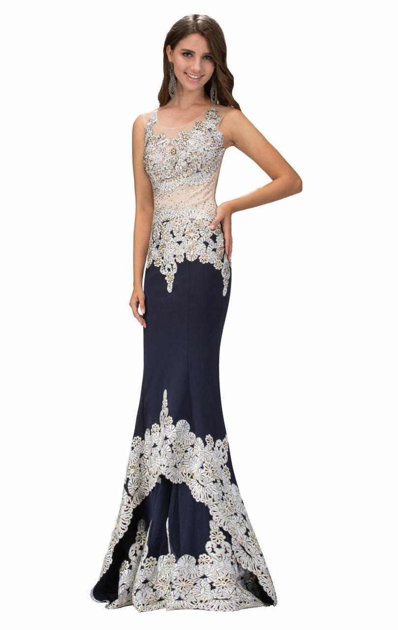 Elizabeth K - GL1342 Scoop Neckline with Sheer Back Jersey Gown