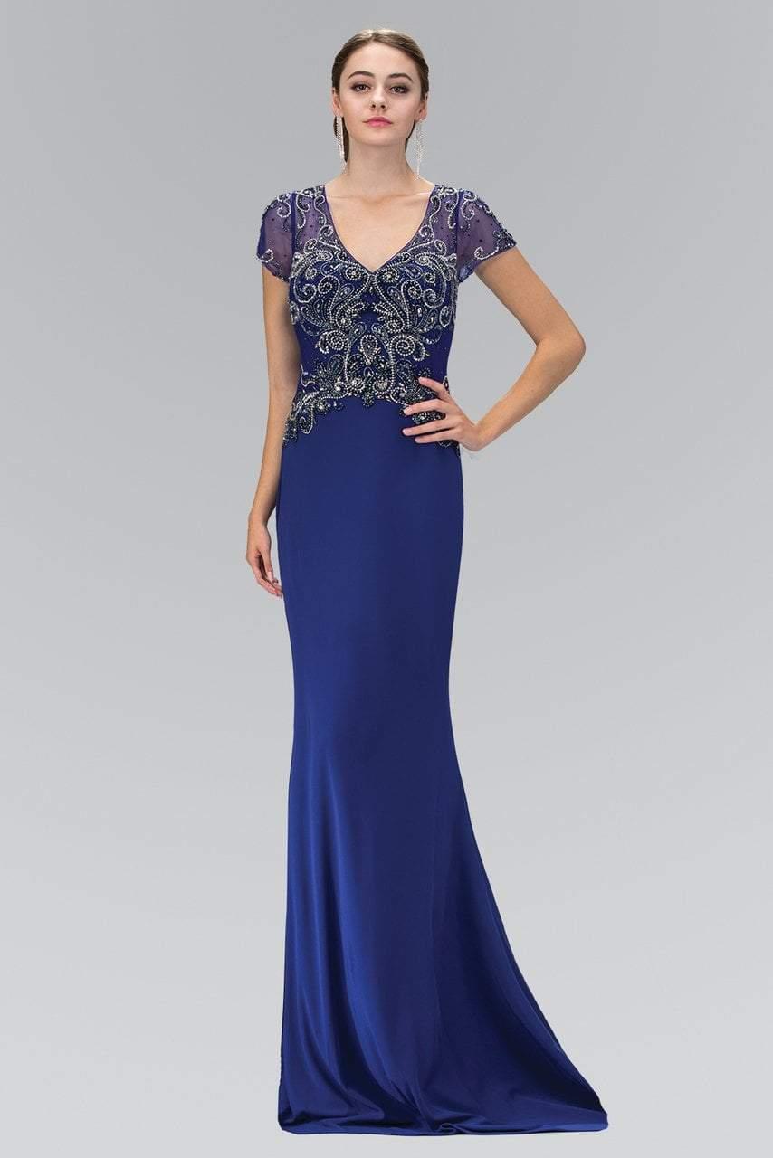 Elizabeth K - GL1370 Short Sleeve V-Neck Jersey Gown