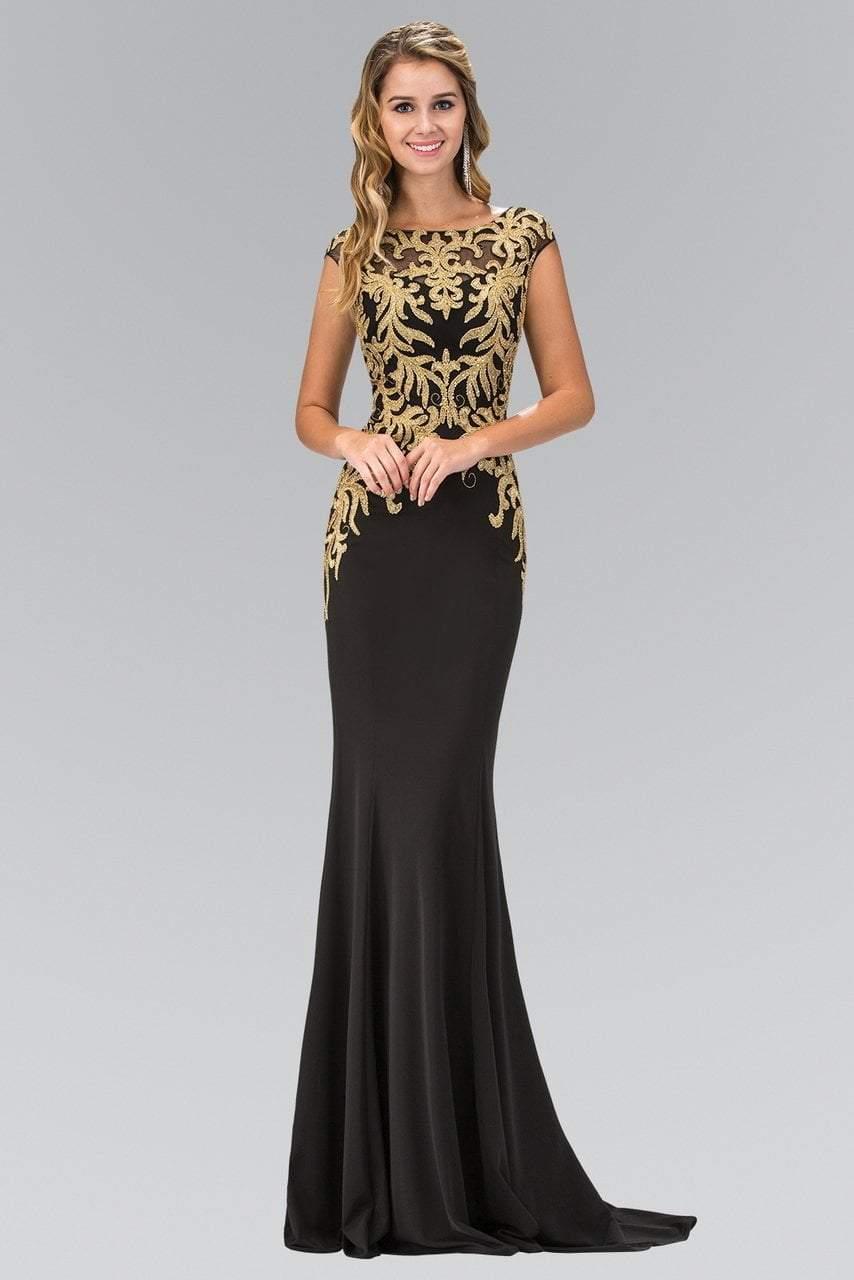 Elizabeth K - GL1417 Bateau Neckline with Gold Applique Embellishment Gown
