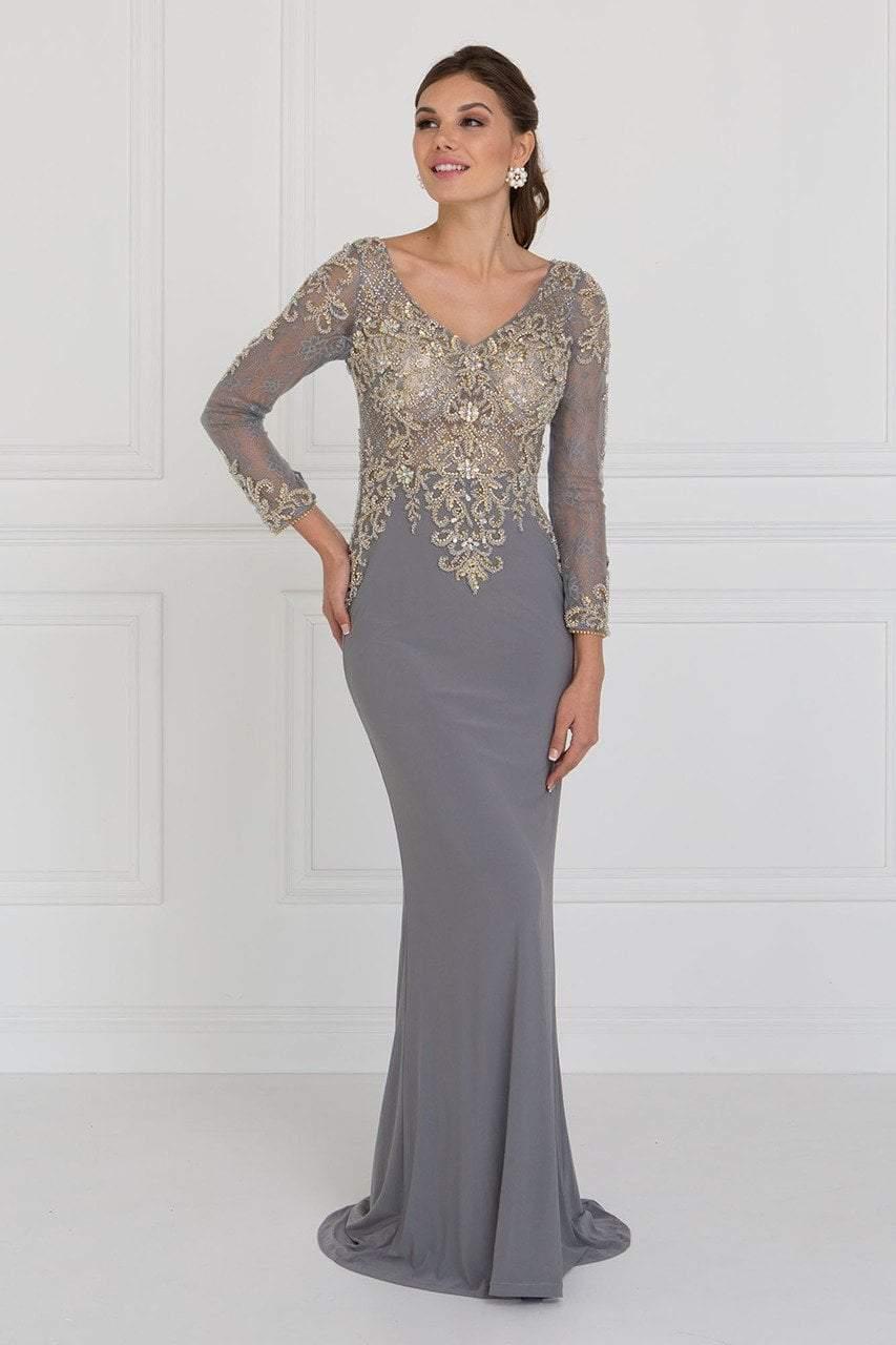 Elizabeth K - GL1502 Jewel Embellished Long Sleeves Fitted Dress