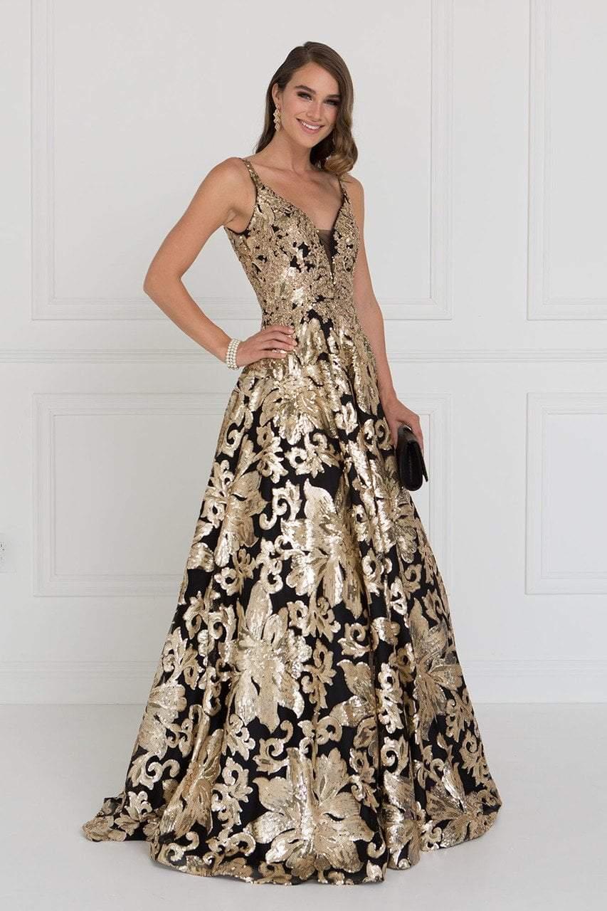 Elizabeth K - GL1511 Sequined Plunging V-Neck Evening Gown