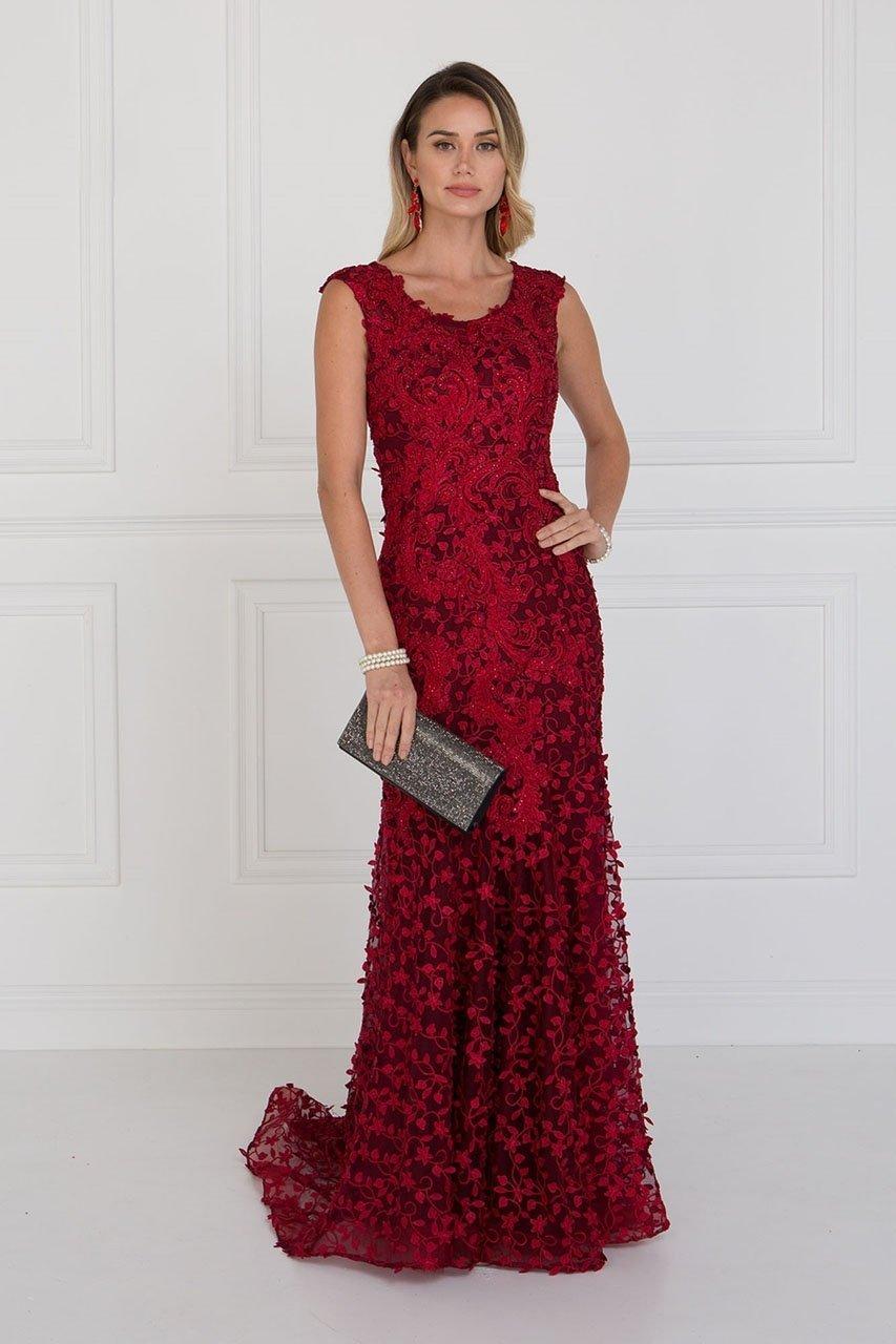 Elizabeth K - GL1529 Scoop Appliqued Evening Dress