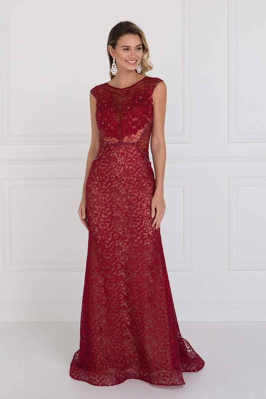 Elizabeth K - GL1531 Embellished Illusion Fitted Evening Dress
