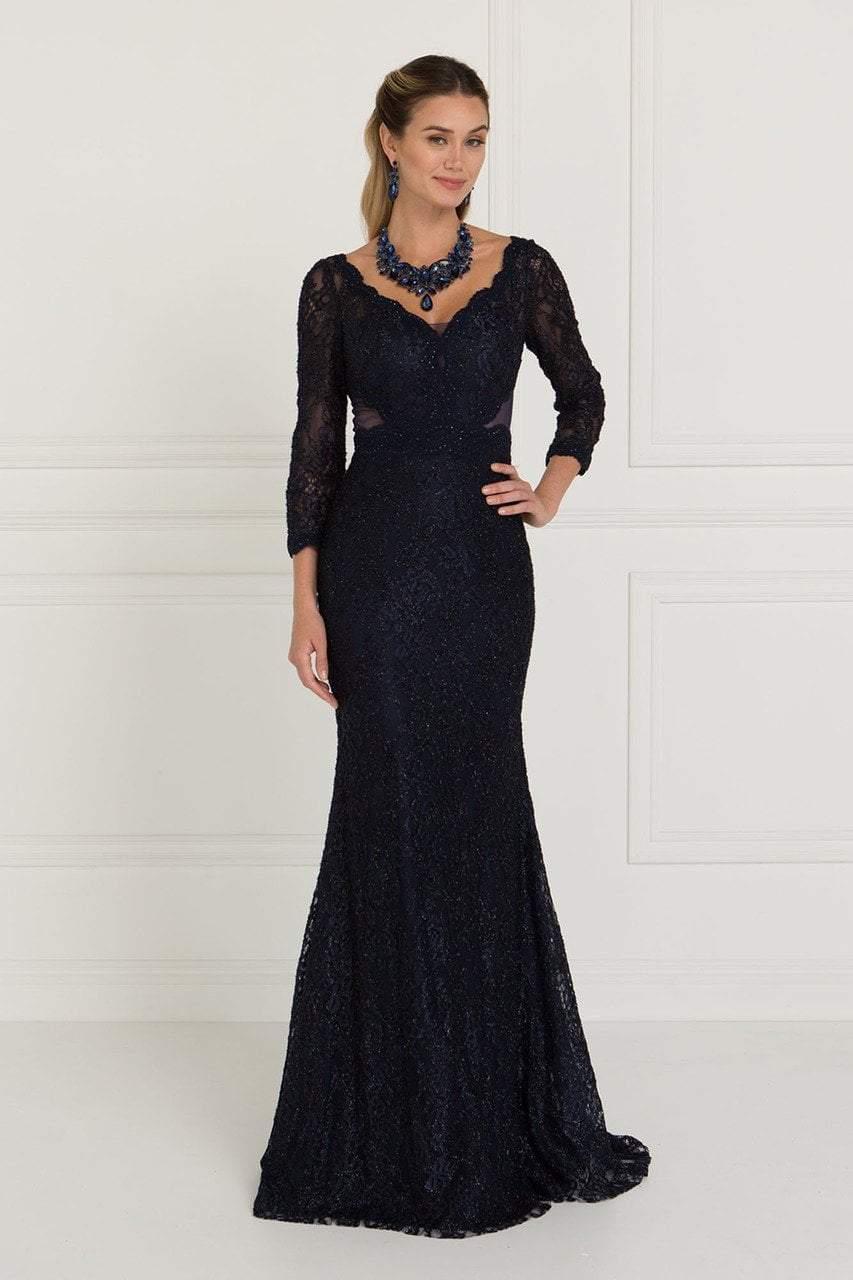 Elizabeth K - GL1532 Lace Wide V-neck Sheath Dress