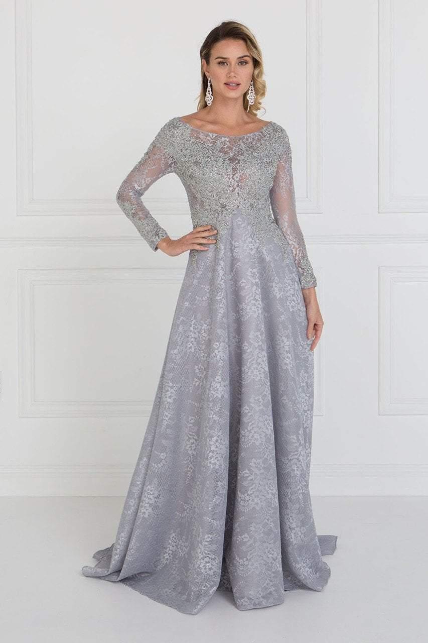 Elizabeth K - GL1537 Lace Long Sleeve Illusion Bateau A-line Dress