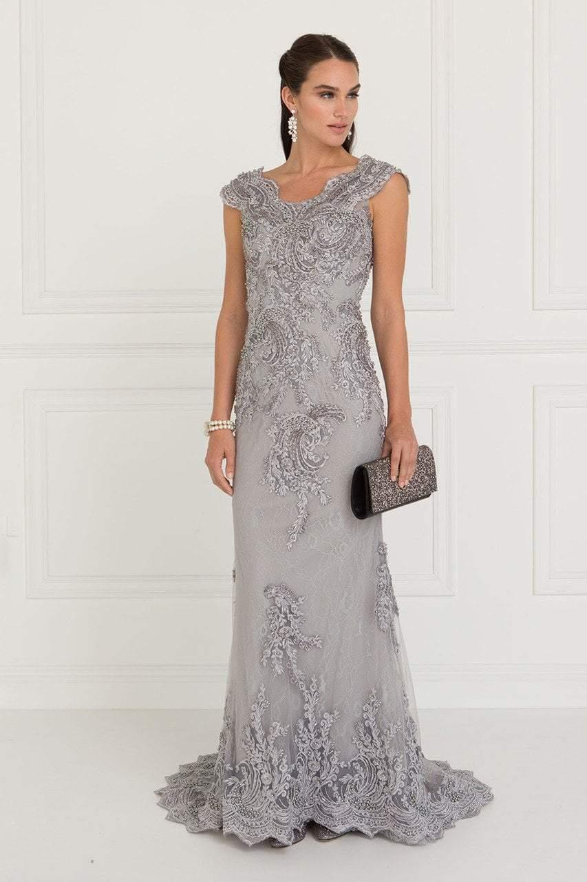 Elizabeth K - GL1540 Lace Embroidered V-neck Sheath Dress