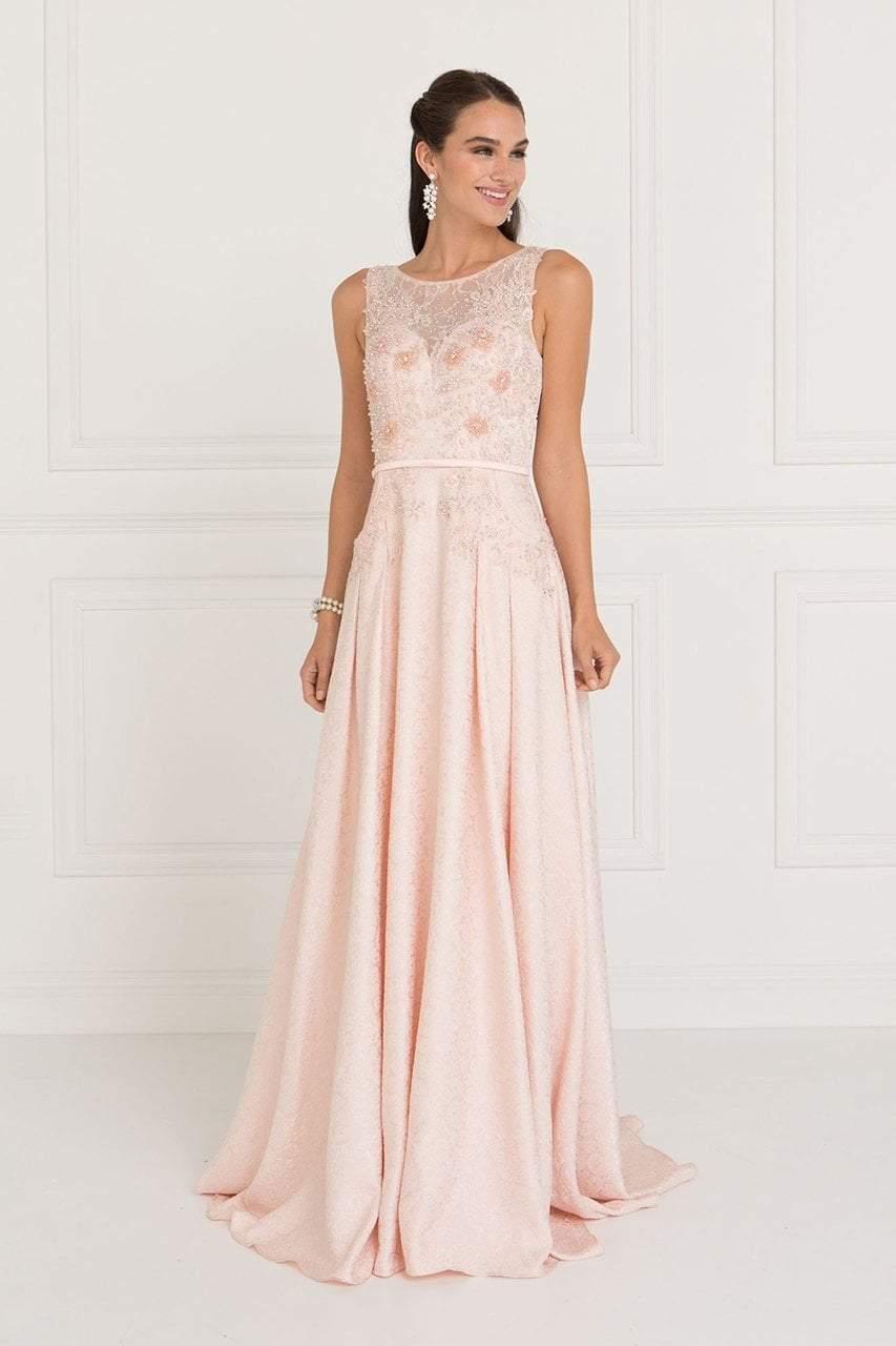 Elizabeth K - GL1545 Jacquard Illusion Appliqued A-Line Gown