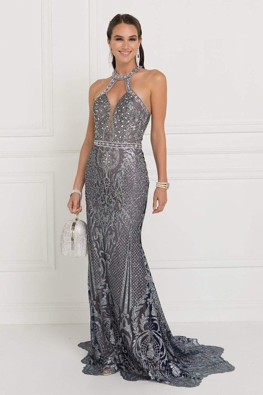 Elizabeth K - GL1549 Plunging Cutout High Halter Metallic Beaded Gown
