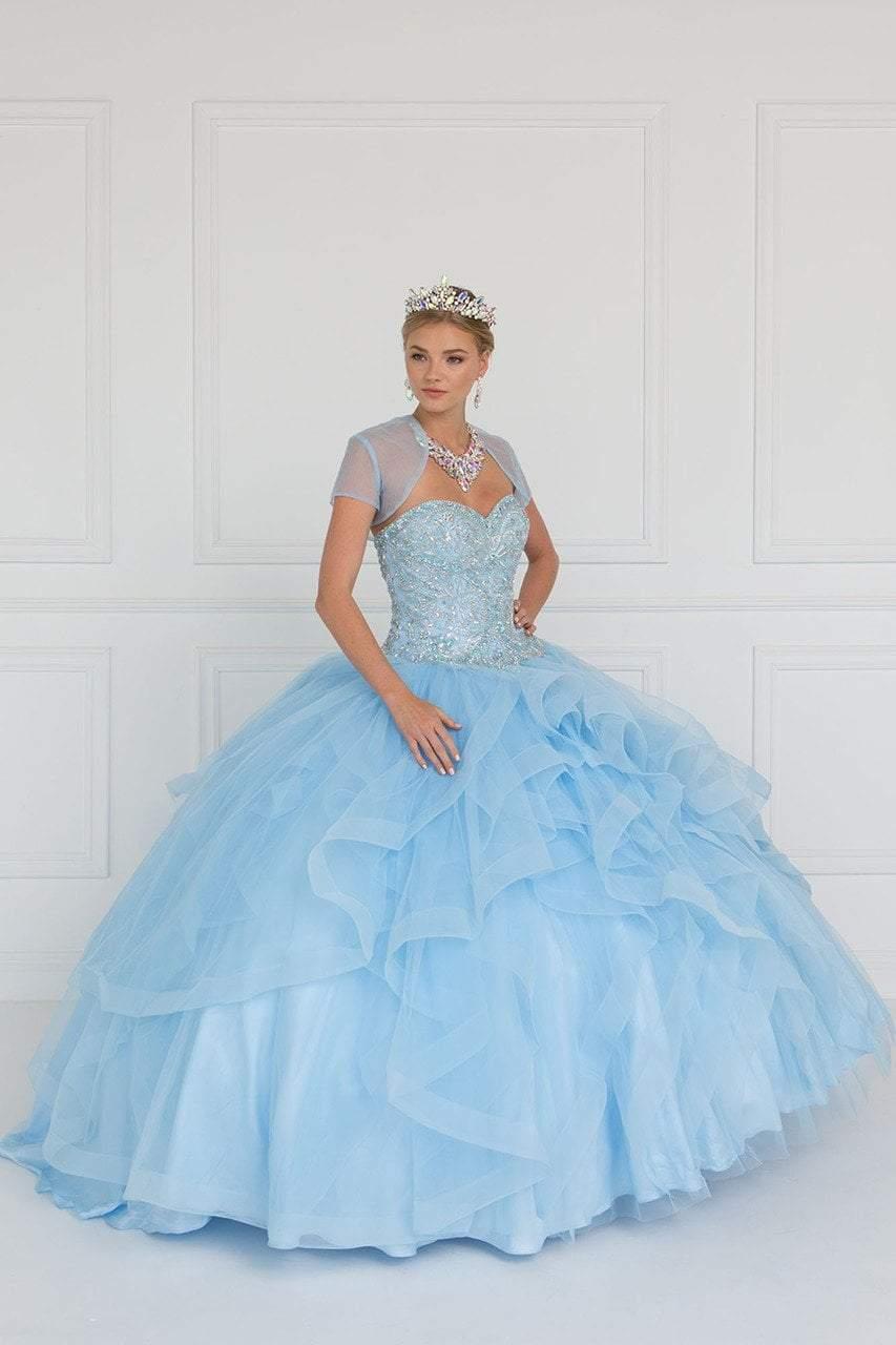 Elizabeth K - GL1551 Jeweled Sweetheart Ruffled Ballgown With Bolero