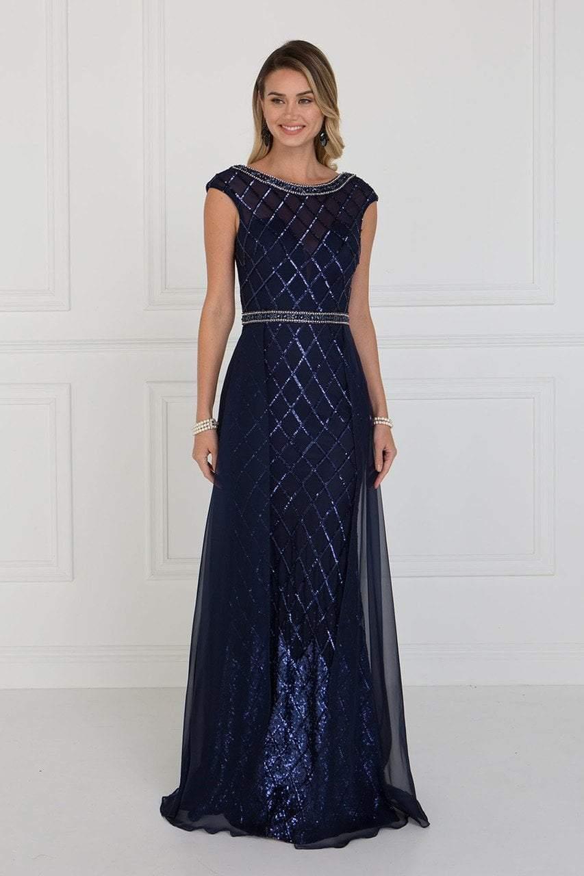 Elizabeth K - GL1577 Embellished Illusion Bateau Dress with Overlay