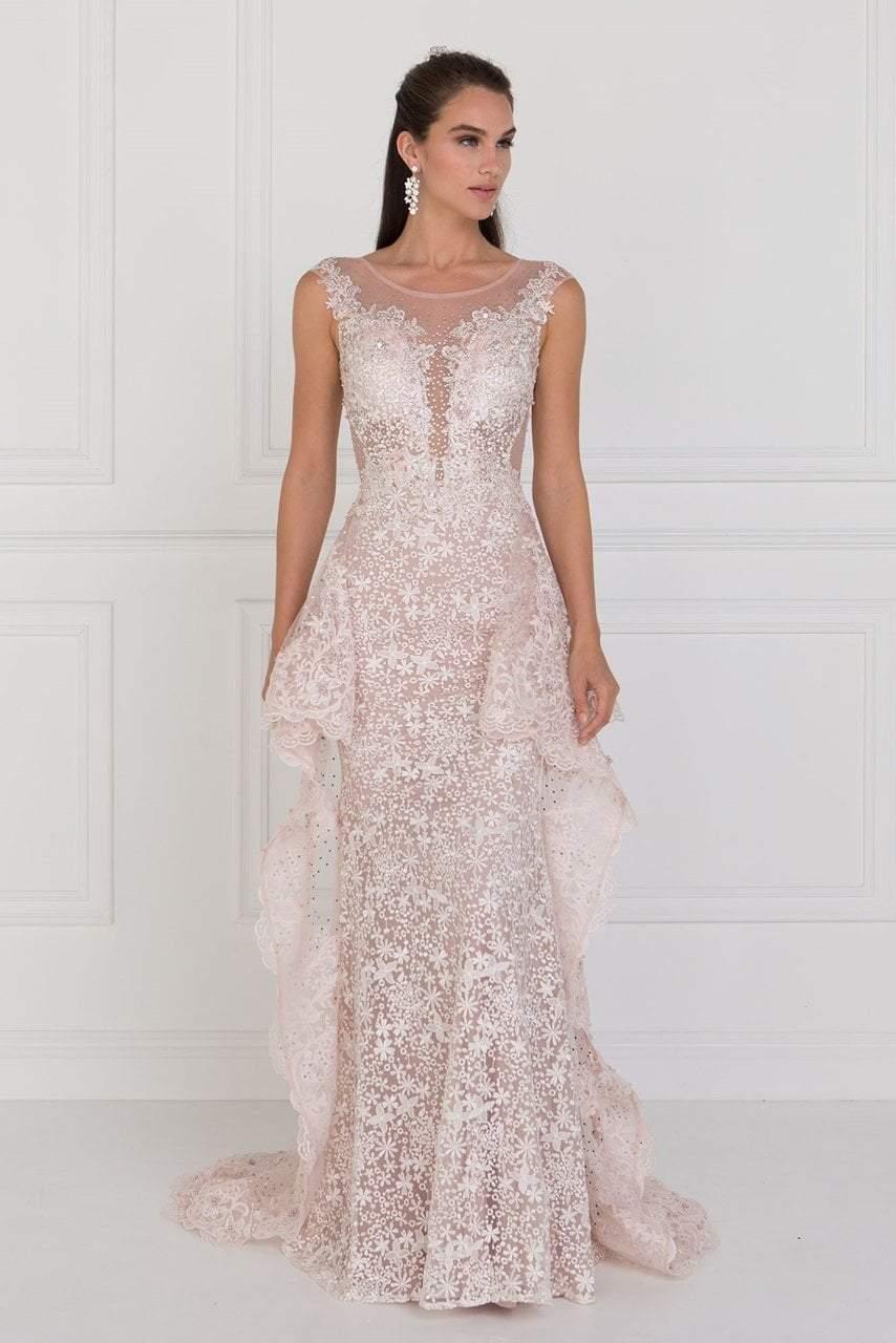 Elizabeth K - GL1582 Cap Sleeve Illusion Paneled Lace Overskirt Gown