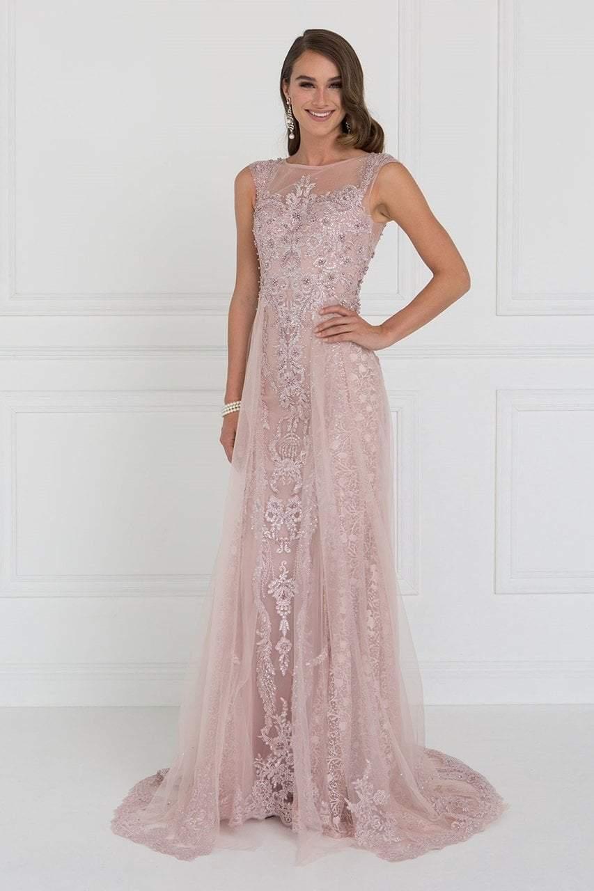 Elizabeth K - GL1583 Illusion Bateau Appliqued Tulle Overlay Gown