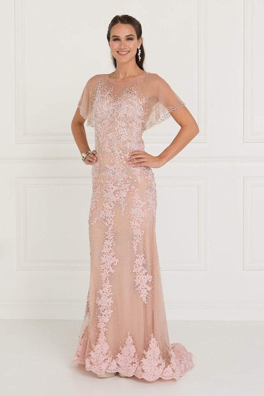 Elizabeth K - GL1585 Beaded Lace Dolman Sleeve Sheath Dress