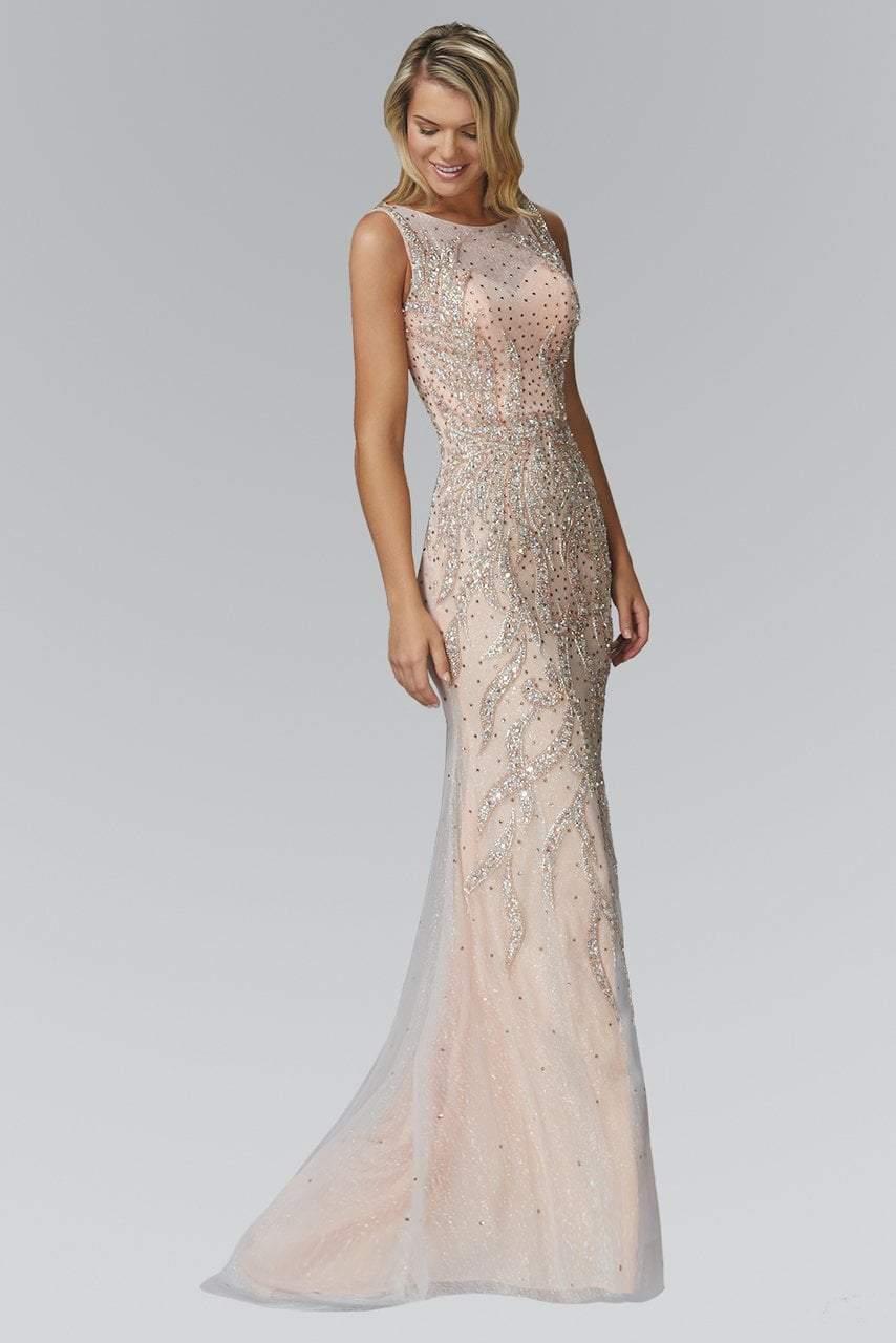 Elizabeth K - GL2154 Jewel Embellished Bateau Neckline Gown