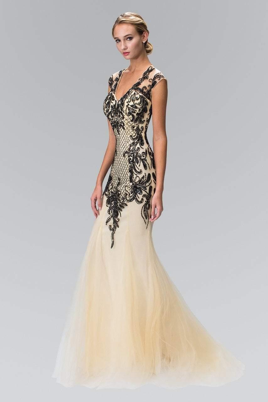 Elizabeth K - GL2169 V-neckline with Open Back Beaded Gown