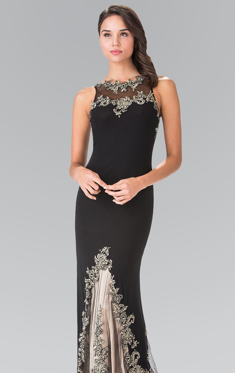 Elizabeth K - GL2204 Embroidered High Neck Gown