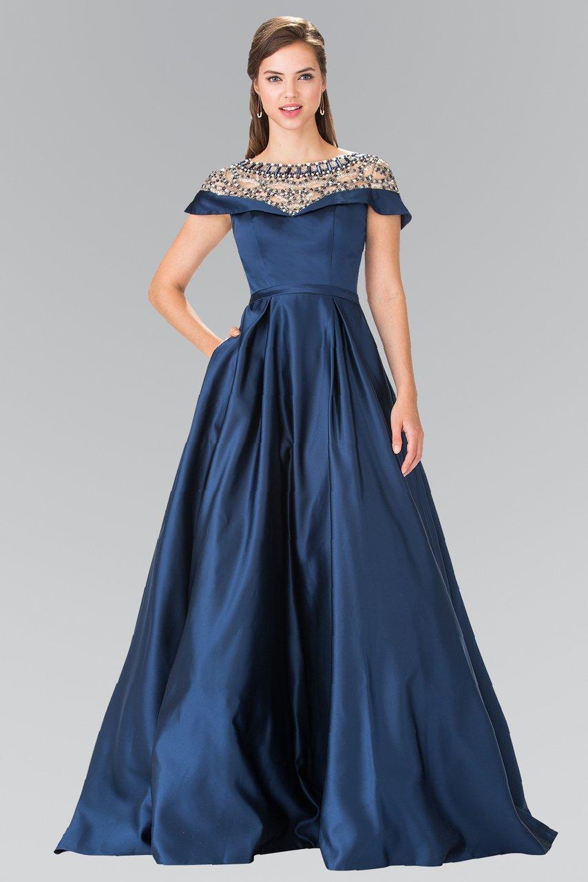 Elizabeth K - GL2215 Sheer Embellished Neckline Evening Gown