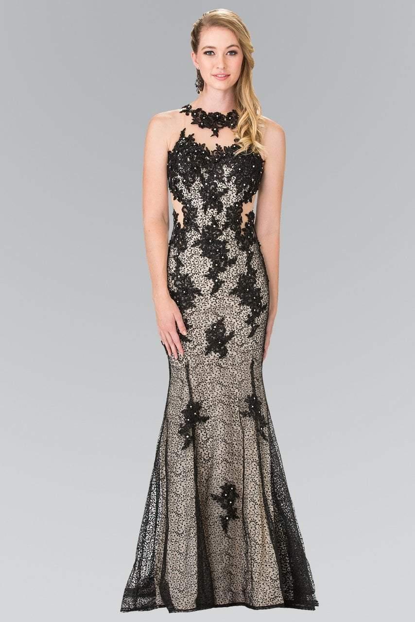 Elizabeth K - GL2220 Embroidered Halter Neck Mermaid Dress