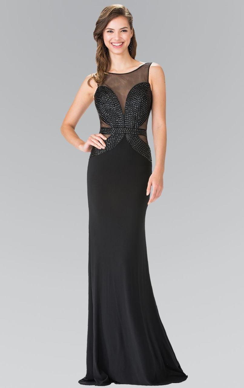 Elizabeth K - GL2234 Illusion Bateau Neckline with Open Back Gown