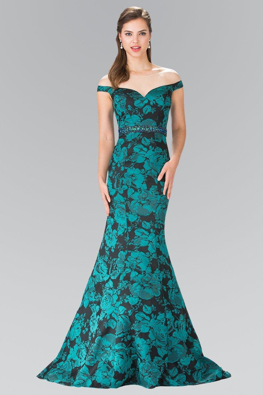 Elizabeth K - GL2245 Mock Off-Shoulder Floral Print Mermaid Gown