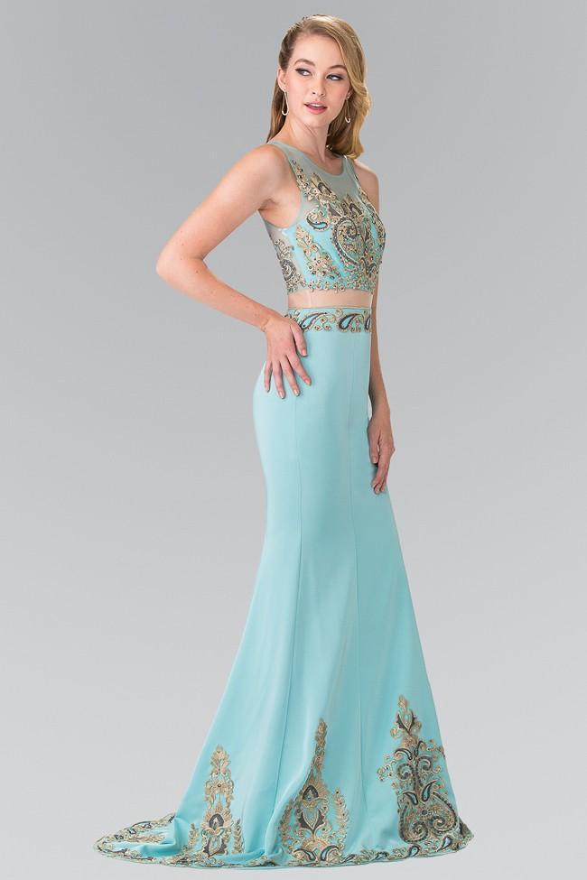 Elizabeth K - GL2248 Embroider Two Piece Long Dress