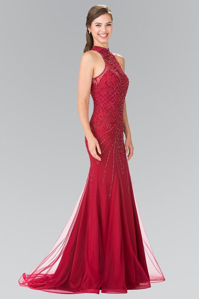 Elizabeth K - GL2263 Sequined Halter Long Dress