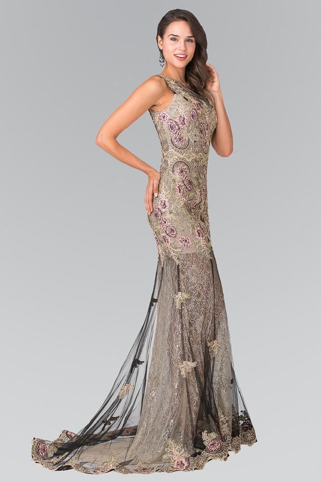 Elizabeth K - GL2269 Embroidered Floral Long Dress