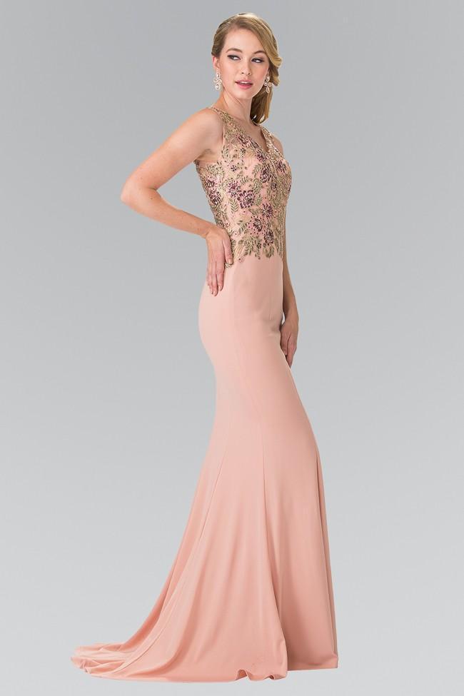 Elizabeth K - GL2270 Embroidered V Neck Long Dress