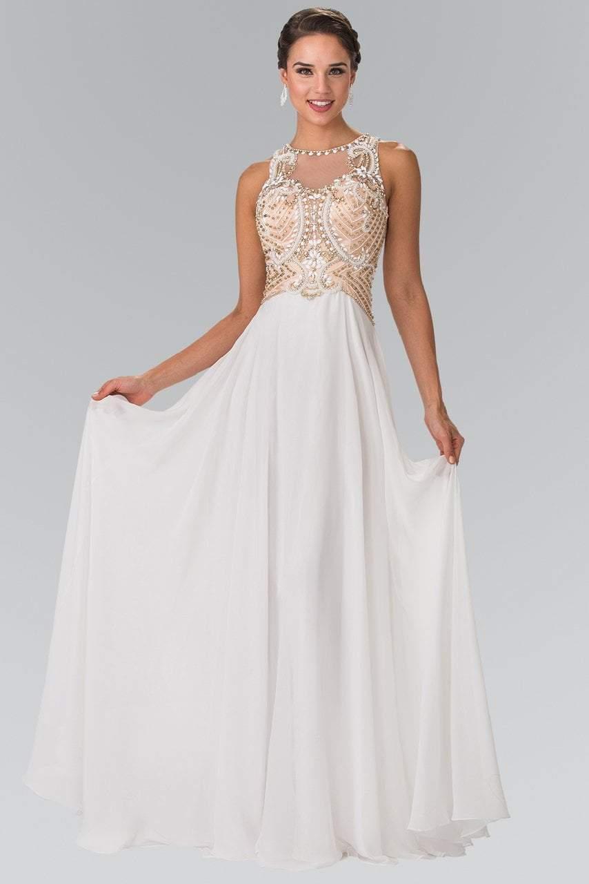 Elizabeth K - GL2295 Sleeveless Jewel Neckline Beaded Evening Gown