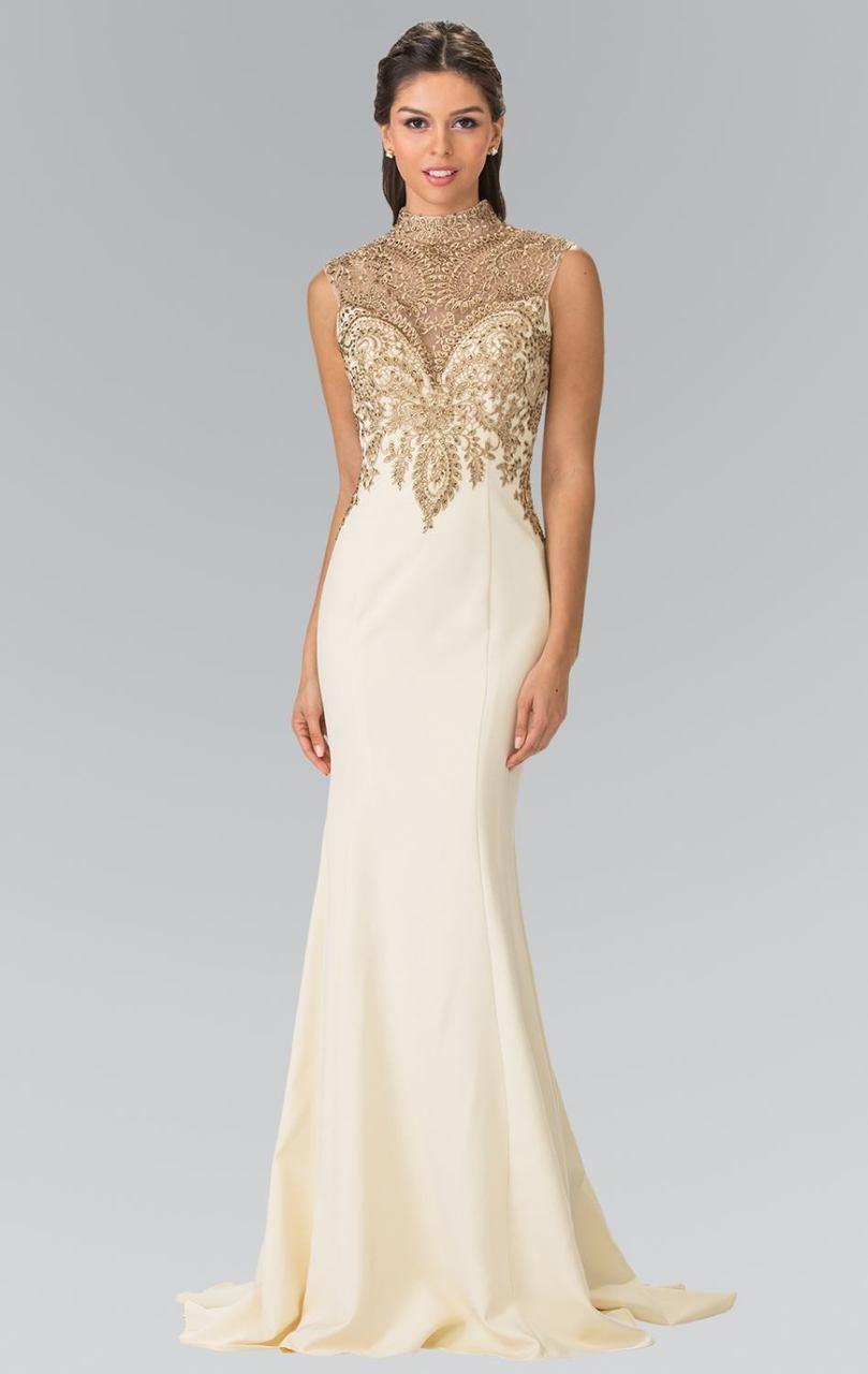 Elizabeth K - GL2322 High Neck Embellished Long Dress