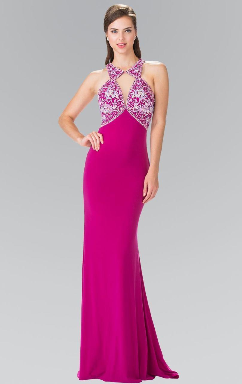 Elizabeth K - GL2355 Halter Cut Outs Long Gown