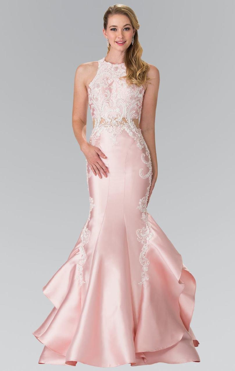 Elizabeth K - GL2356 Halter Ruffled Mermaid Gown