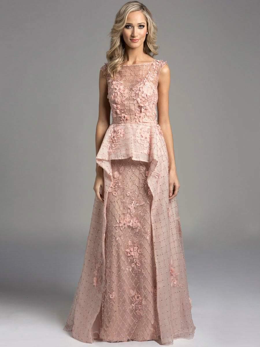 Lara Dresses - 33225 Bateau Illusion Mesh A-Line Gown