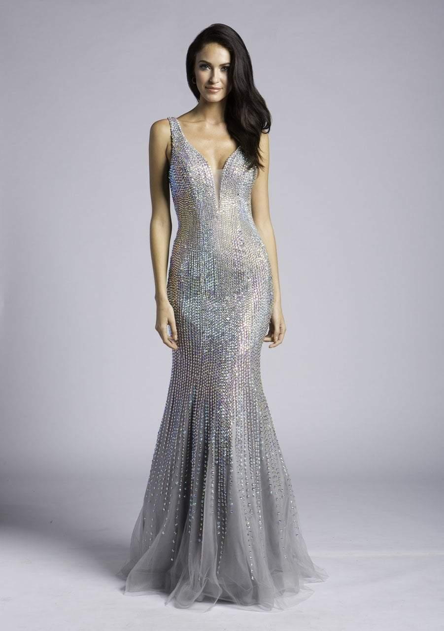 Lara Dresses - 33615 Plunging V-Neck Crystalline Trumpet Gown