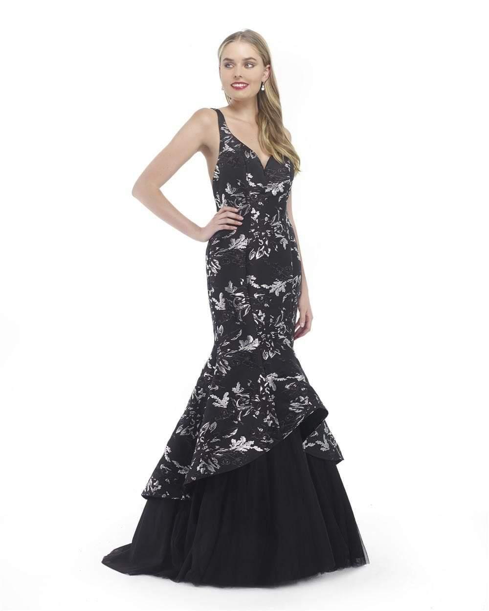 Morrell Maxie - 15818 Sleeveless Metallic Jacquard Mermaid Gown
