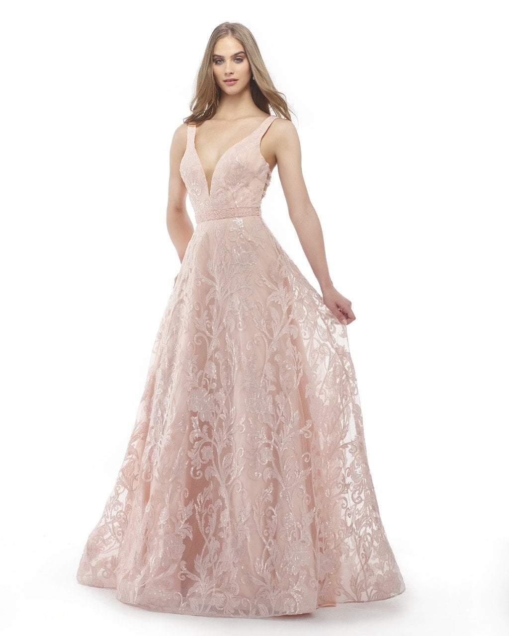 Morrell Maxie - 15825 Embroidered Deep V-neck A-line Dress