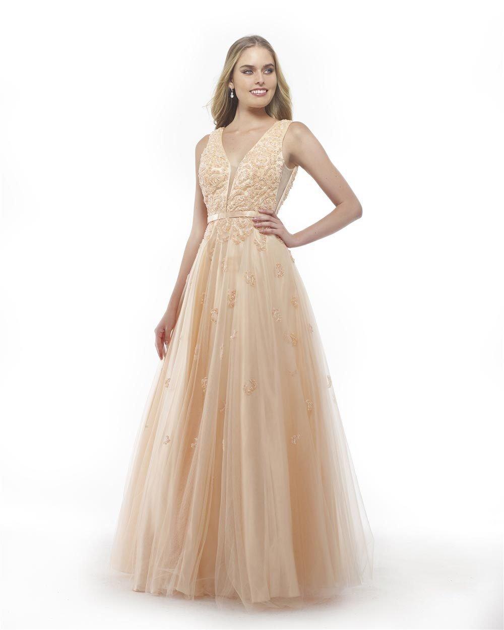 Morrell Maxie - 15851 Deep V-Neck Embellished Net Gown