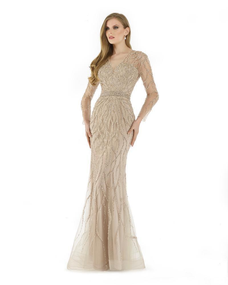 Morrell Maxie - 15890 Pearl Beaded V-neck Tulle Sheath Dress