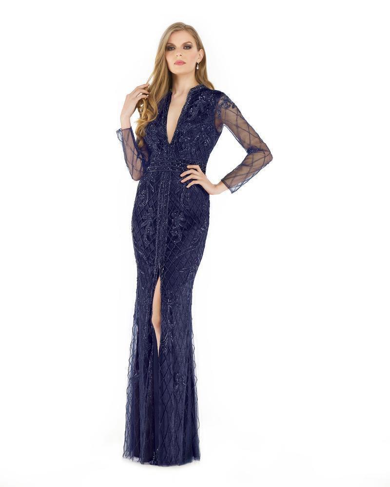Morrell Maxie - 15891 Beaded Long Sleeve Deep V-neck Fitted Dress