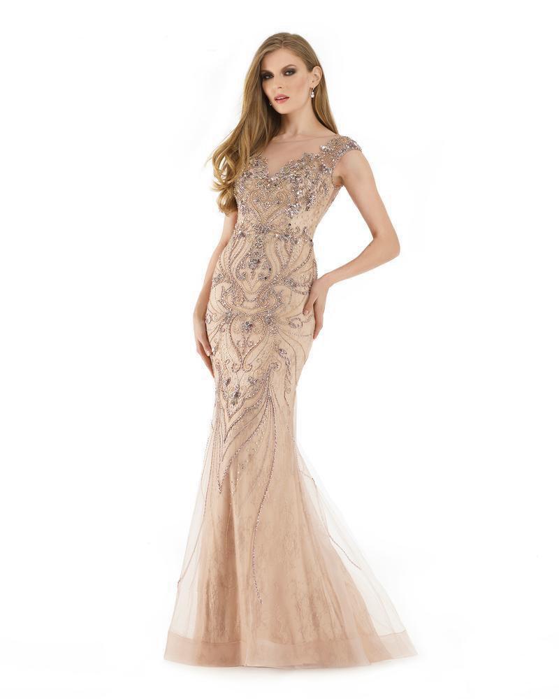 Morrell Maxie - 15894 Bejeweled Lace Illusion Bateau Trumpet Dress