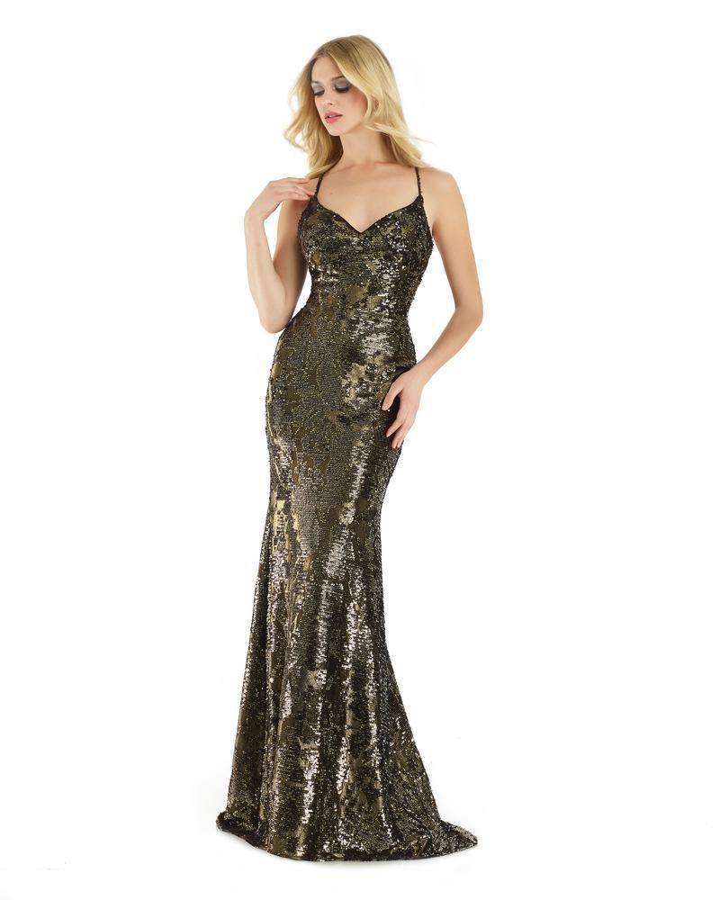 Morrell Maxie - 15910 Sleeveless Sequined V-neck Fitted Dress